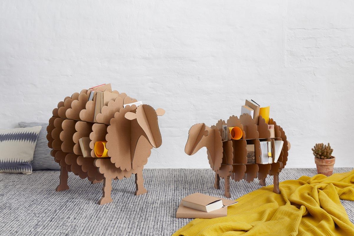 pappschaf molly das tierische regal aus pappe von stange design. Black Bedroom Furniture Sets. Home Design Ideas